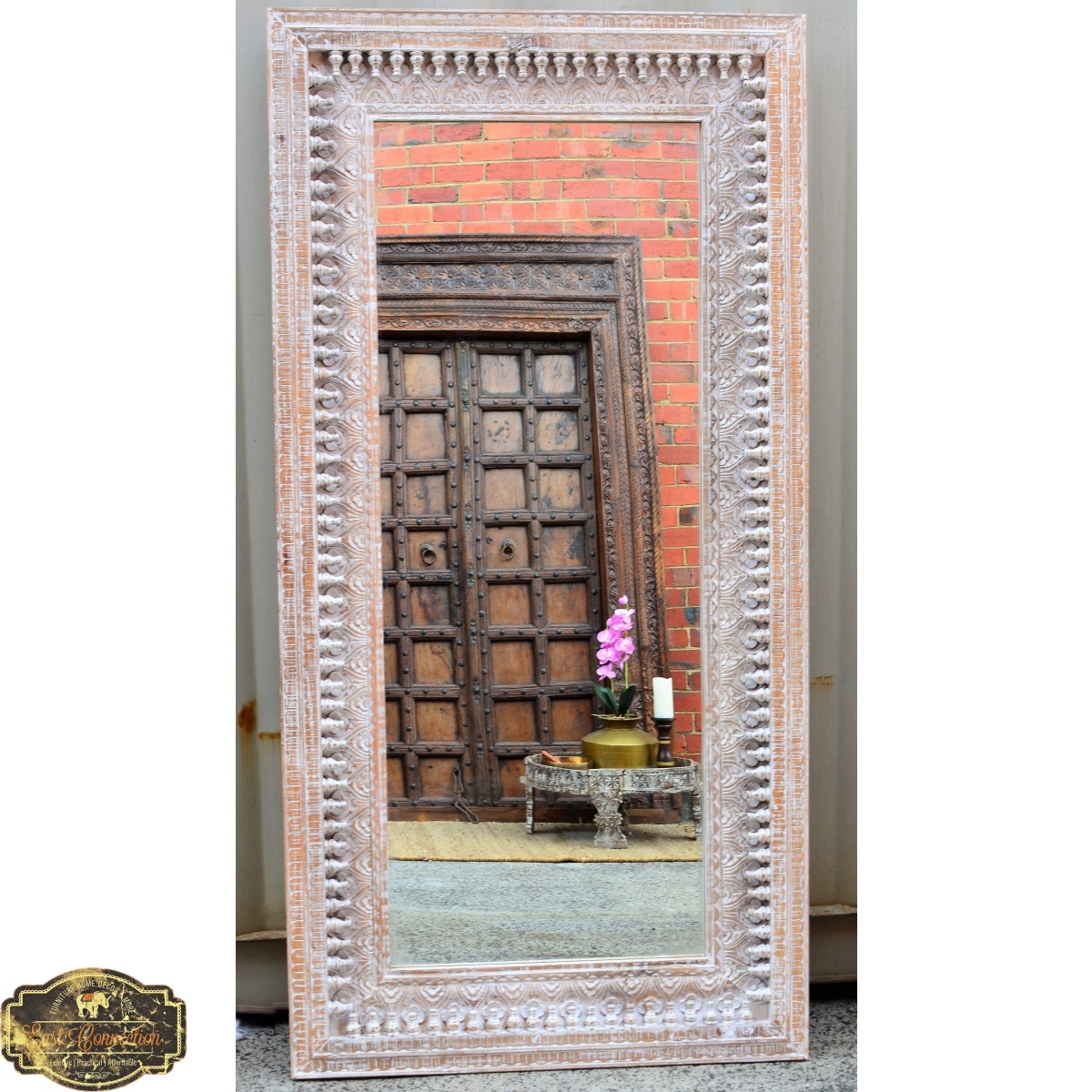 Indian Hand Carved Distressed Shabby Chic Full Length Mirror East Connection