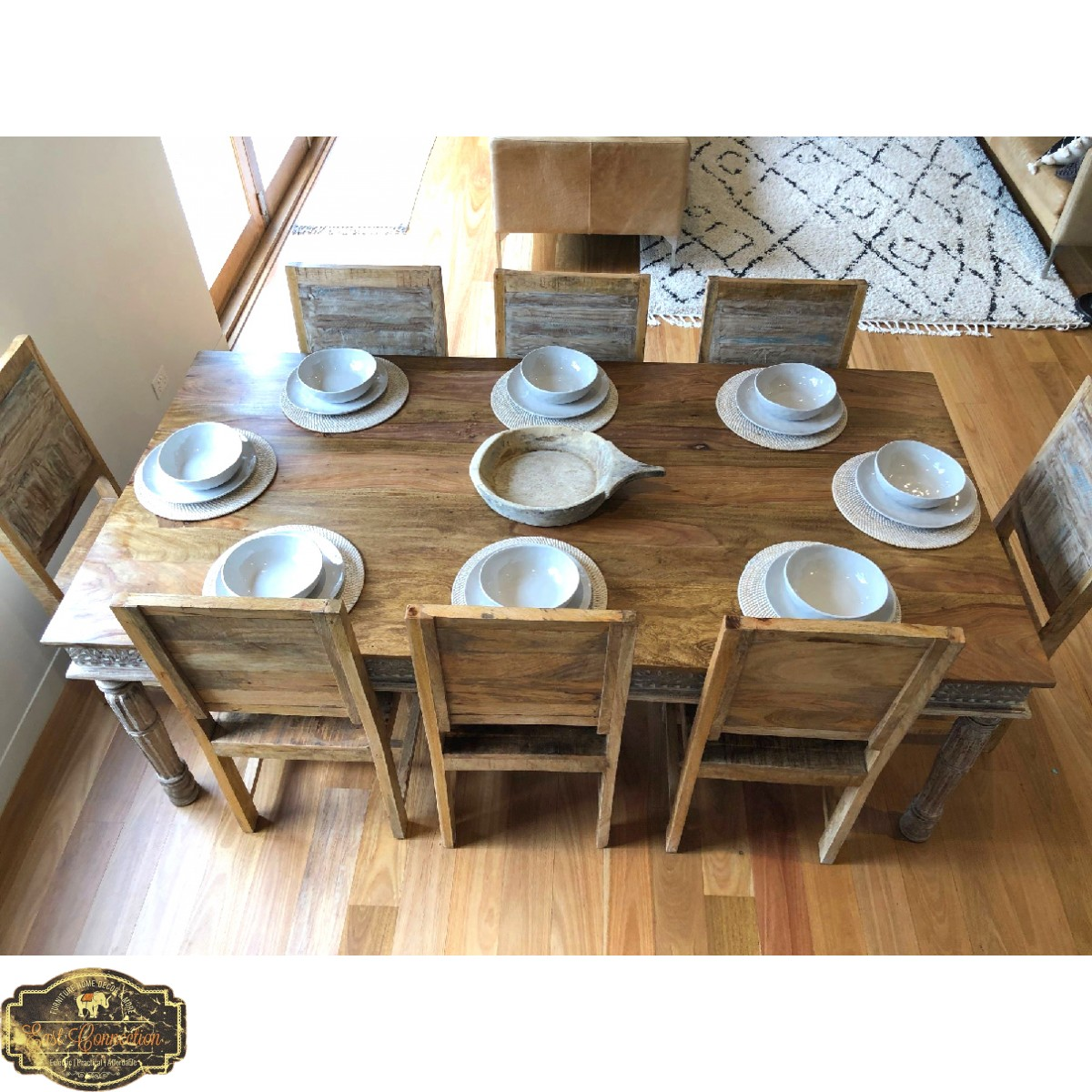 Hand Carved Shabby Chic Dining Table - 8 seat