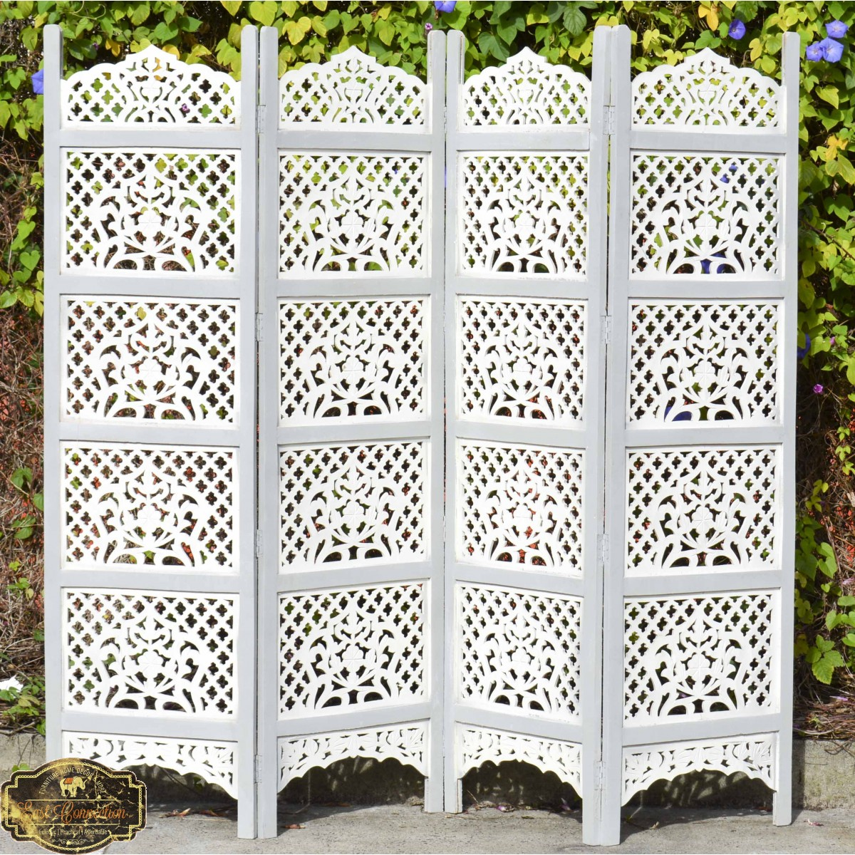 Grey White Shabby Chic Hand Carved Indian Timber Screen