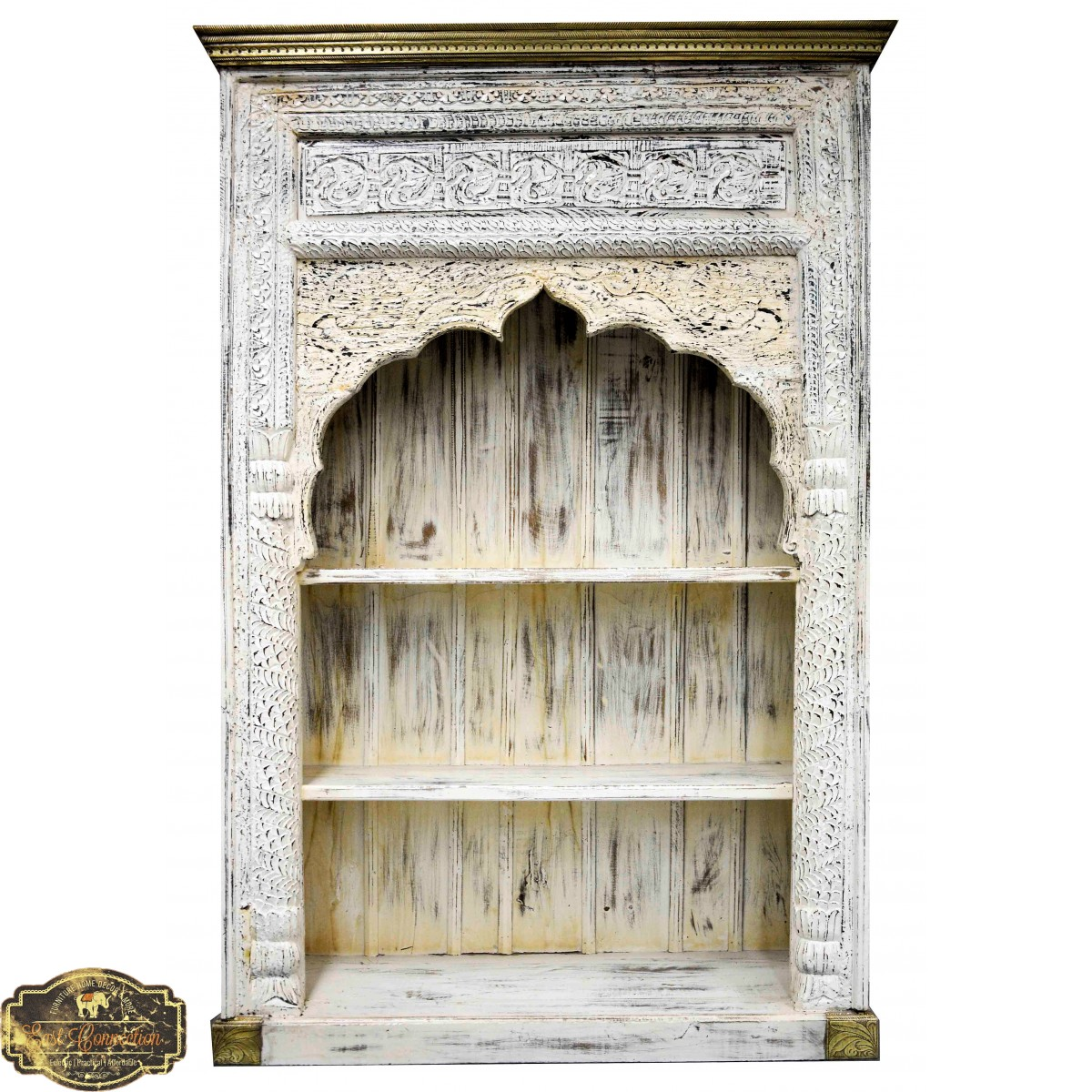 Antique White Mehrab Carved Indian Timber Brass Bookshelf