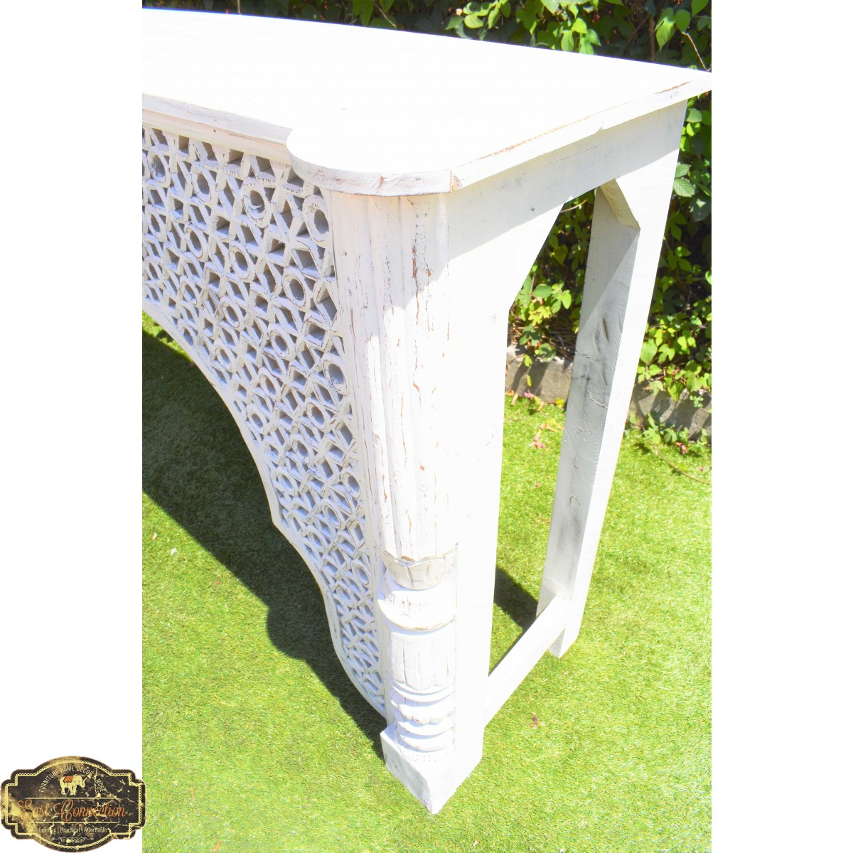 Distressed White Indian Carved Mehrab Console Hall Table