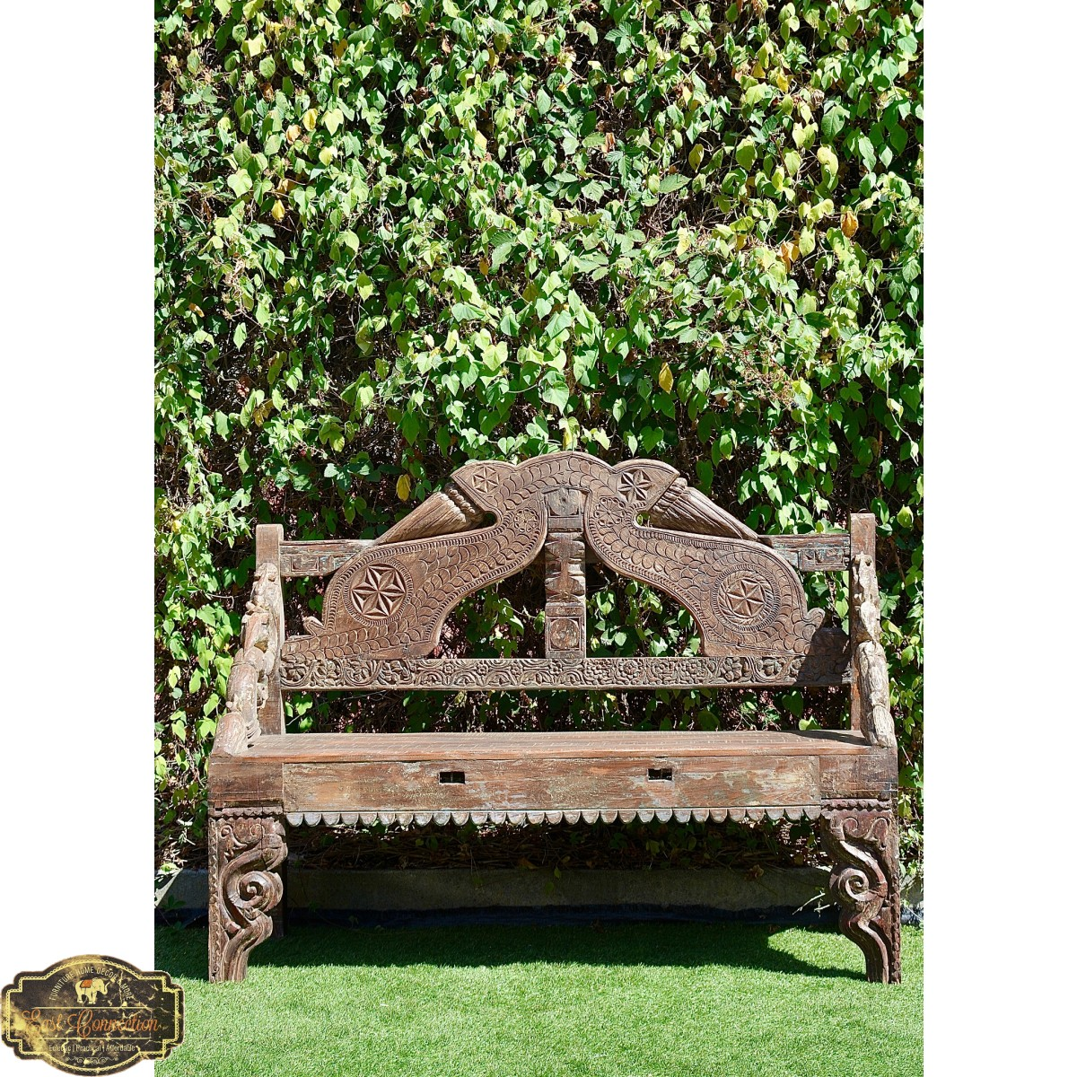 Hand Carved Recycled Timber Garden Bench Seat Indian Daybed