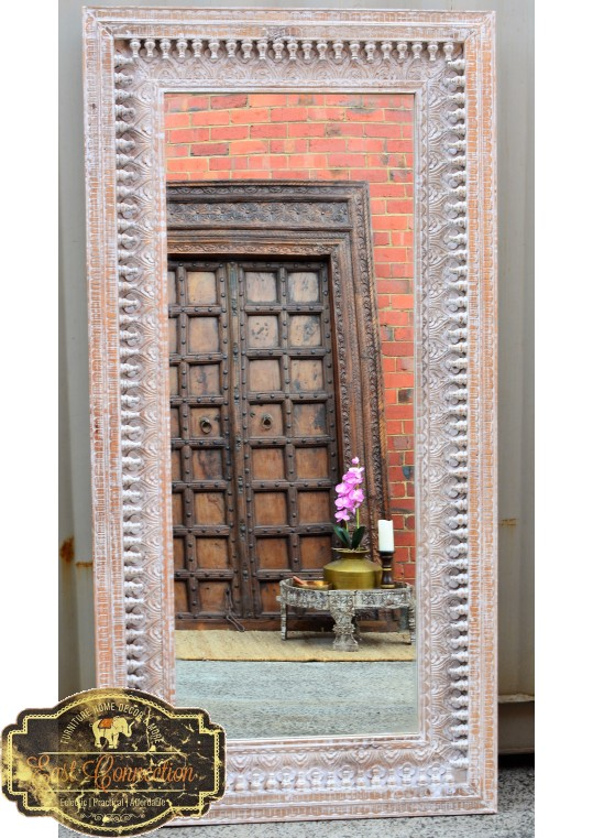 Indian Hand Carved Shabby Chic Full Length Mirror