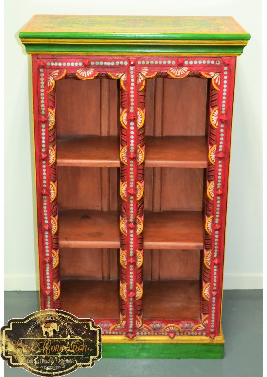 Yellow Hand Painted Boho Bookcase Cabinet