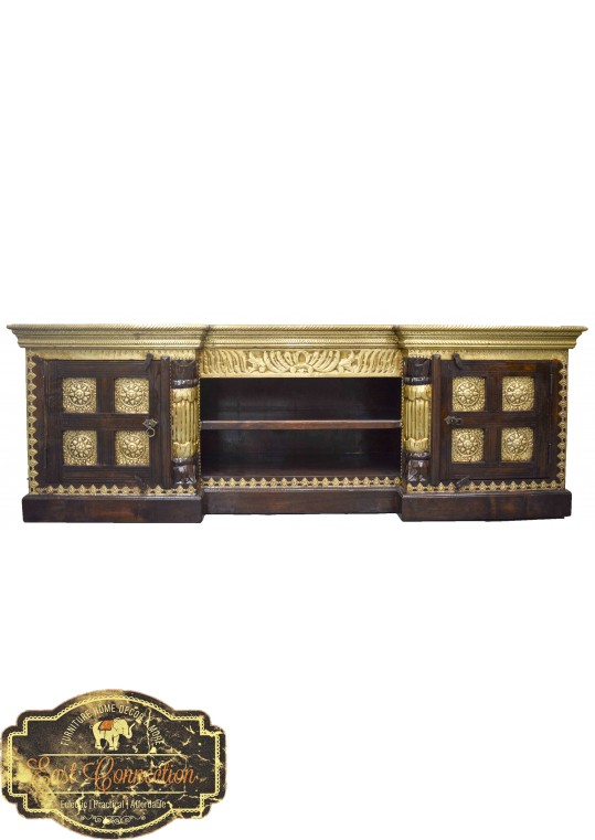 Large Indian Brass & Timber Entertainment Unit