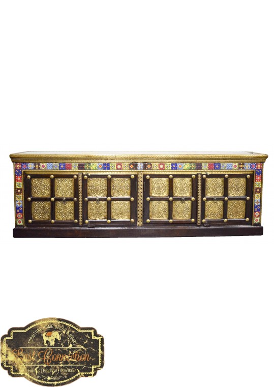 Indian Teak Brass & Morrocan Tile Fitted Entertainment Unit