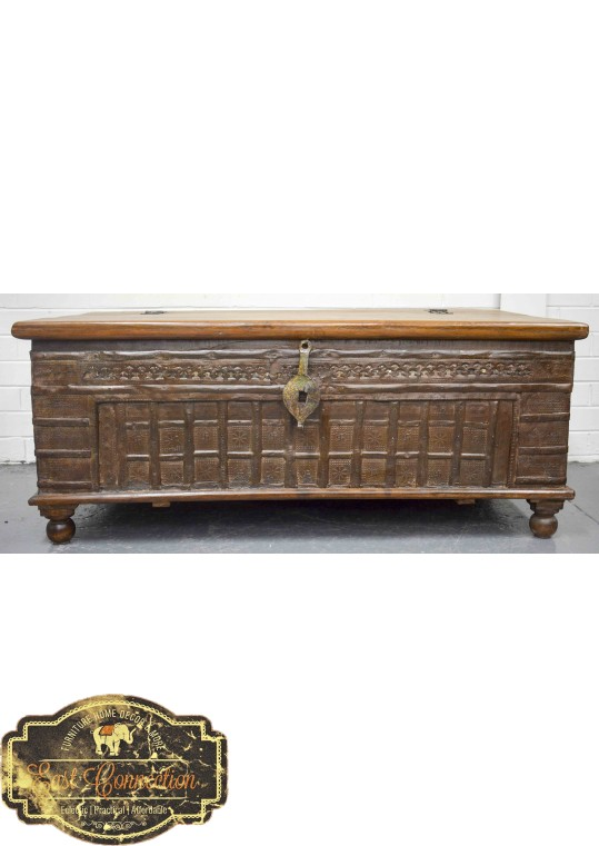 Reclaimed Timber Antique Metal Blanket Box