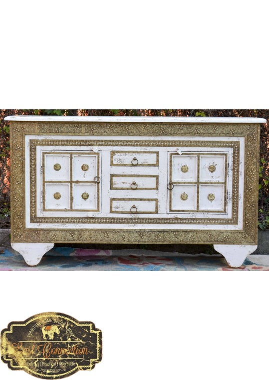 Vintage White Moroccan Brass Indian Timber Sideboard
