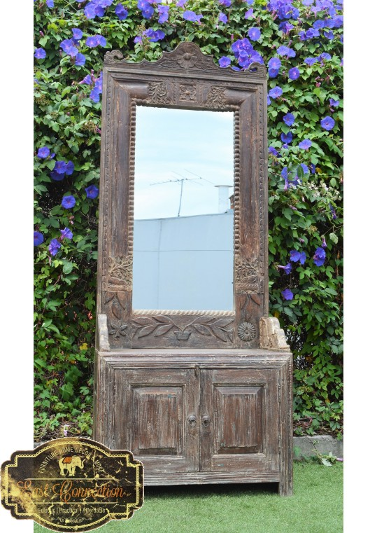 Reclaimed Antique Mirror Timber Hand Carved Hall Stand Storage