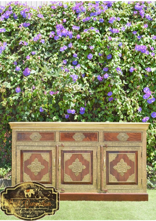 Indian Timber & Antique Embossed Brass Buffet Sideboard