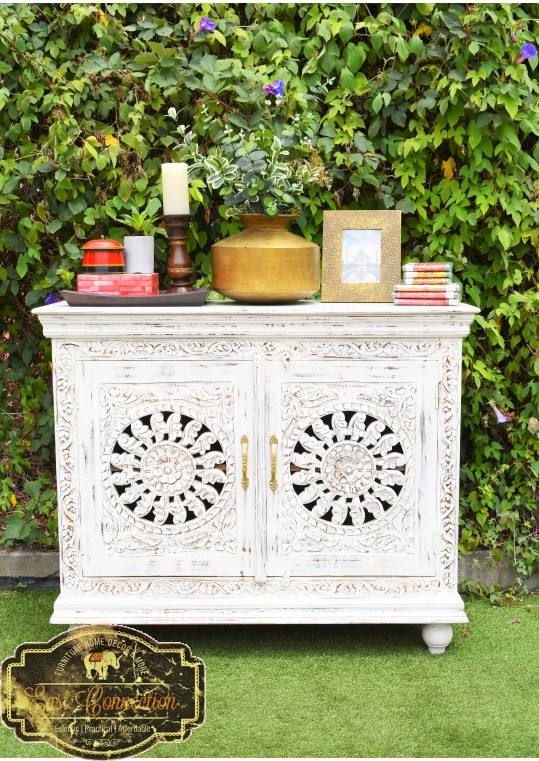 French Provincial White Hand Carved Floral Mandala Sideboard Cabinet