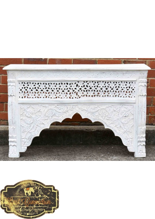 Whitewashed Indian Carved Mehrab Console/Hall Table