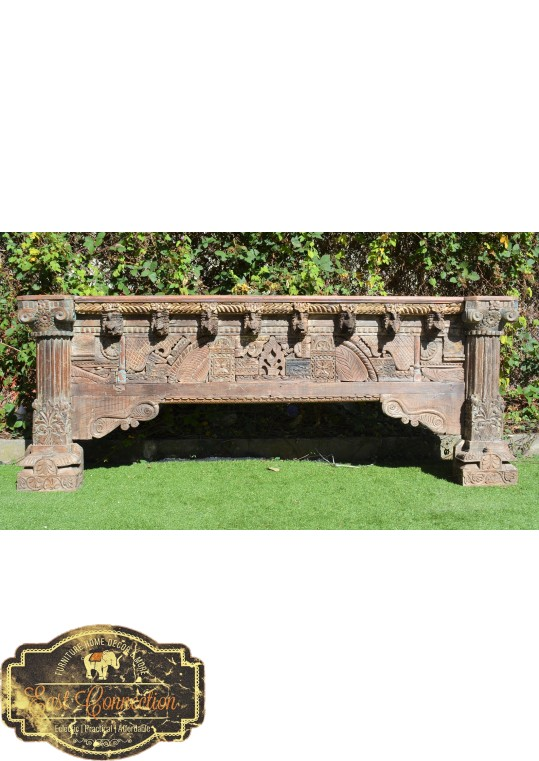 Reclaimed Indian Antique Hand Carved Timber Long Console Hall Table