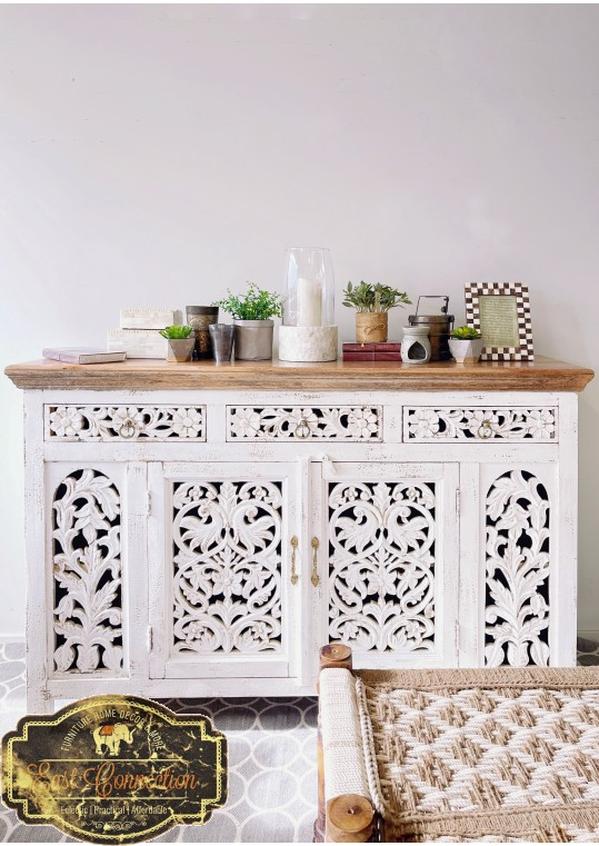 White Shabby Chic Hand Carved French Provincial Sideboard