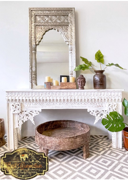 Vintage Ethnic White Indian Hand Carved Timber Console Table