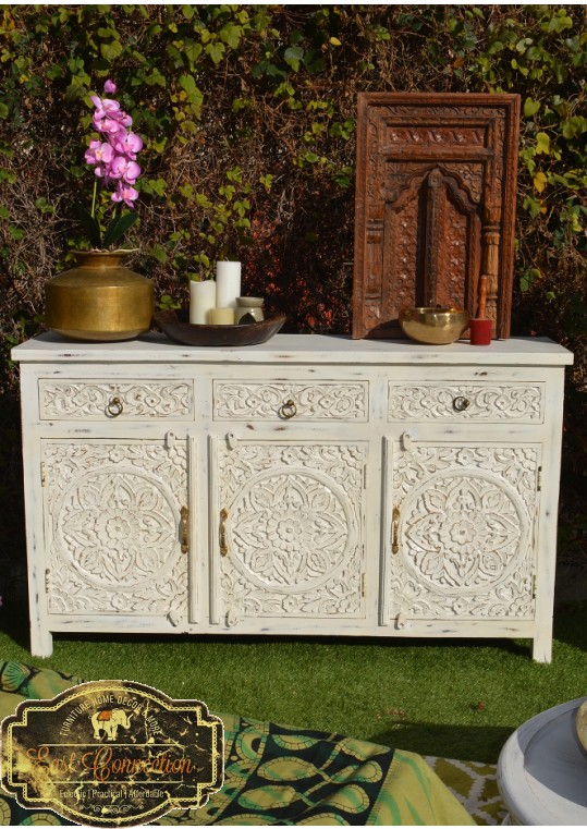 French Provincial White Hand Carved Floral Sideboard Buffet