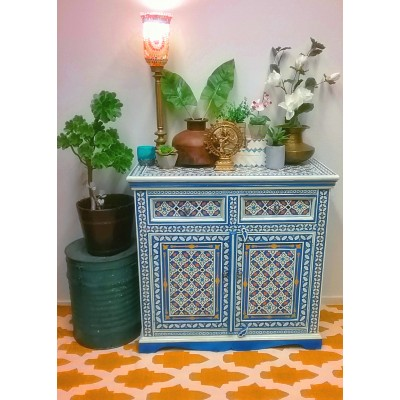 Blue Hand Painted Moroccan Geometric Pattern Sideboard Cabinet