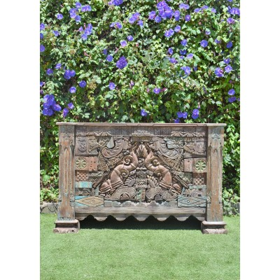 Handcarved Reclaimed Timber Antique Carving Drinks Bar Counter