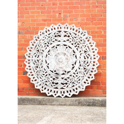 White Round Hand Carved Antique Timber Wall Art