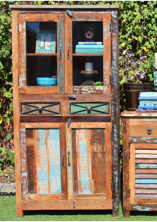 Reclaimed Timber Buffet & Hutch Display Cabinet