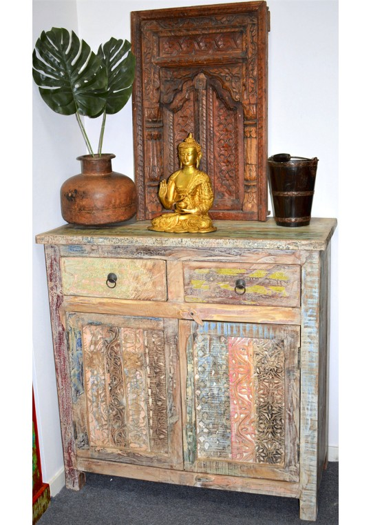 Hand Carved Recycled Timber Shabby Chic Sideboard Cabinet