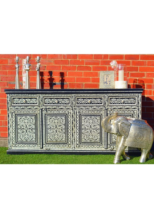 Black Hand Painted Bone Inlay Buffet Sideboard