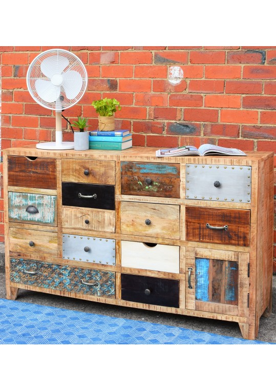 Vintage Scandinavian Timber Multi-drawer Sideboard