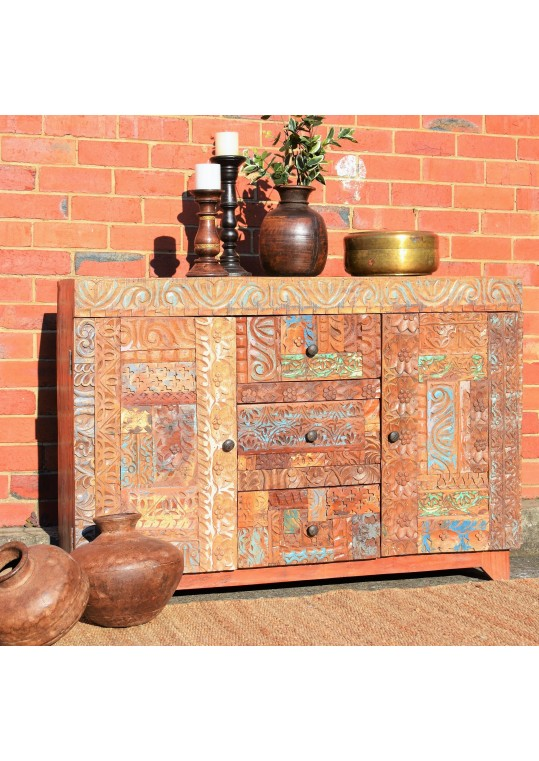 Hand carved Front Recycled Timber Sideboard