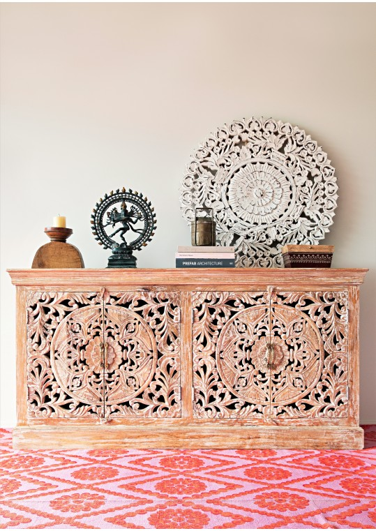 Distressed French Provincial Floral Mandala Carved Sideboard