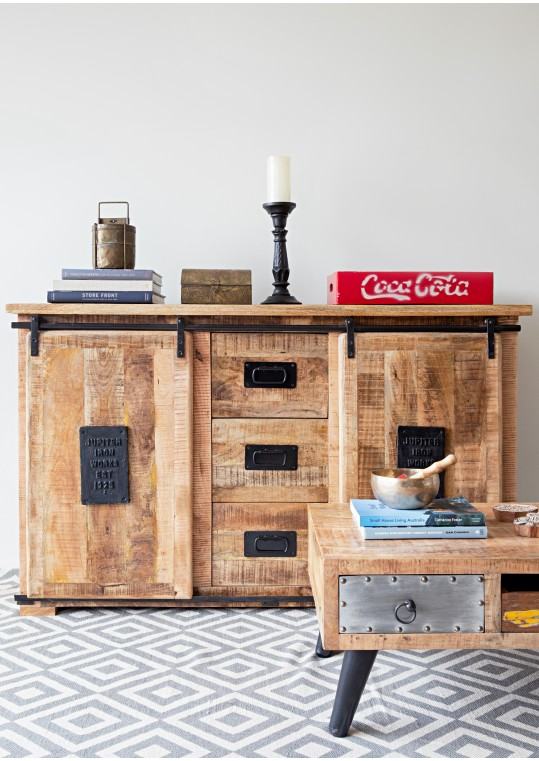 Vintage Industrial Timber Sliding Door Sideboard Cabinet