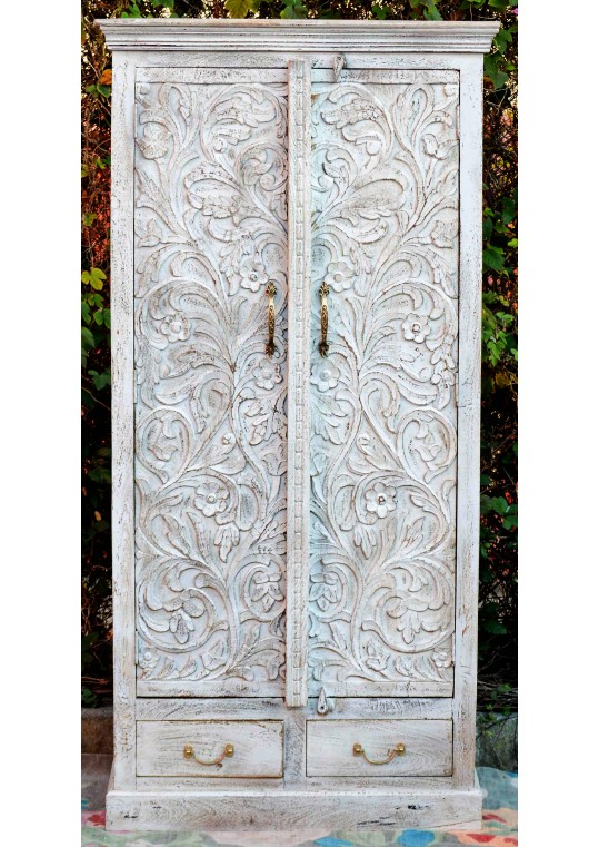 Shabby Chic Carved Antique Grey Sandblasted Wardrobe
