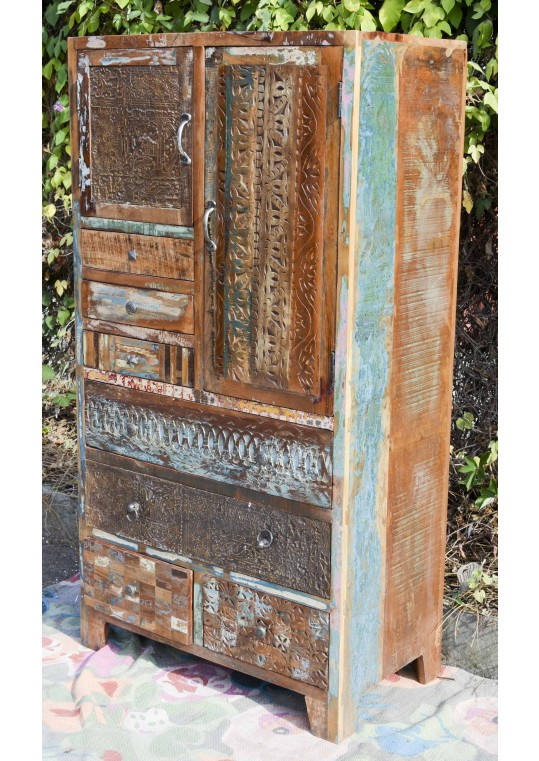 Recycled Timber Vintage Multi Drawer Tall Dresser