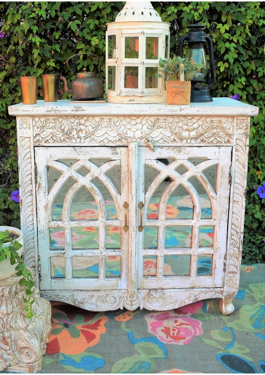 White Glass Door Carved French Provincial Sideboard