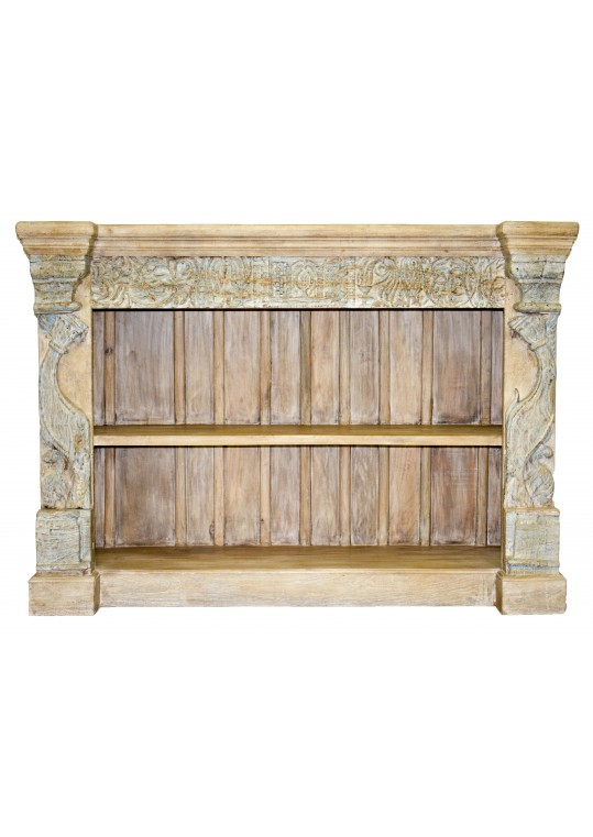 Hand Carved Shabby Chic Low Bookshelf