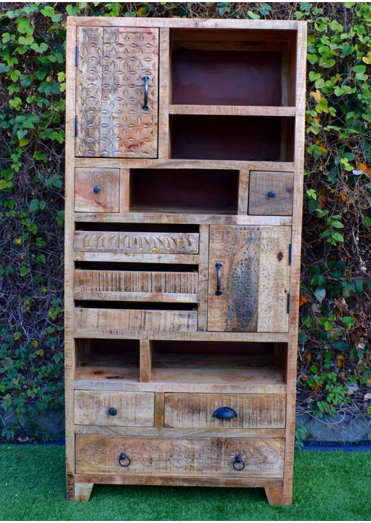 Vintage Scandinavian Timber Multi-drawer Bookshelf Display Cabinet
