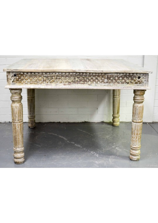 Hand Carved Shabby Chic Dining Table (4 Seat)