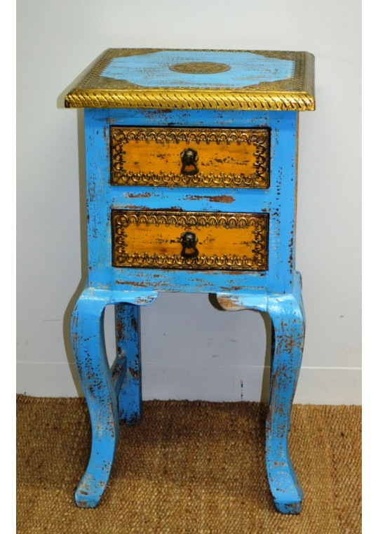 Painted & brass 2 drawer bedside