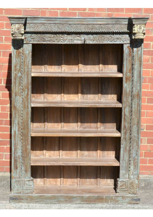 Hand Carved Antique Reclaimed Timber Bookshelf