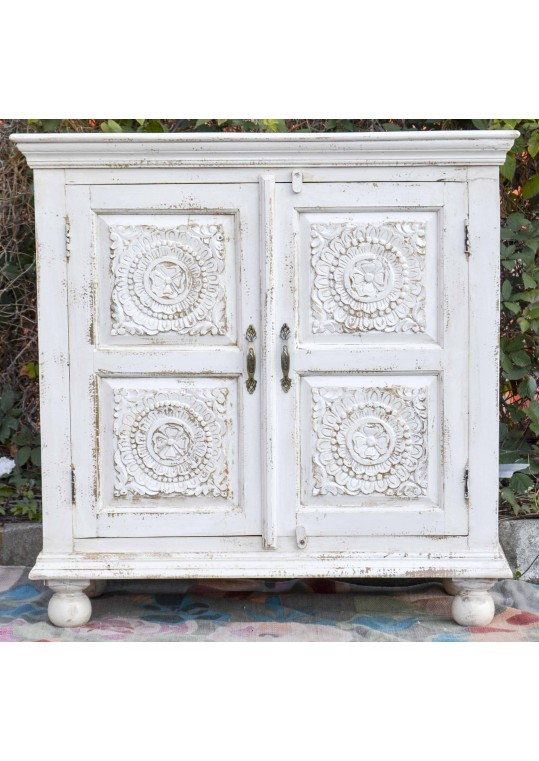 White Shabby Chic Carved Reclaimed Timber Sideboard Cabinet