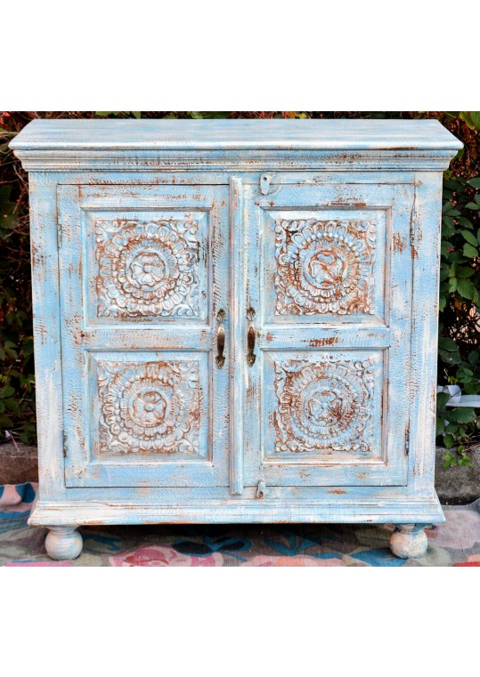 Blue Shabby Chic Carved Reclaimed Timber Sideboard Cabinet