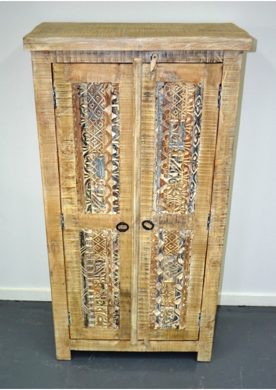 Hand Carved Shabby Chic Wardrobe Cabinet