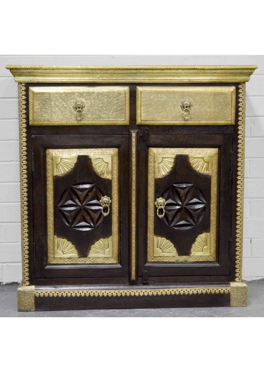 Indian Carved Timber & Brass Sideboard Cabinet