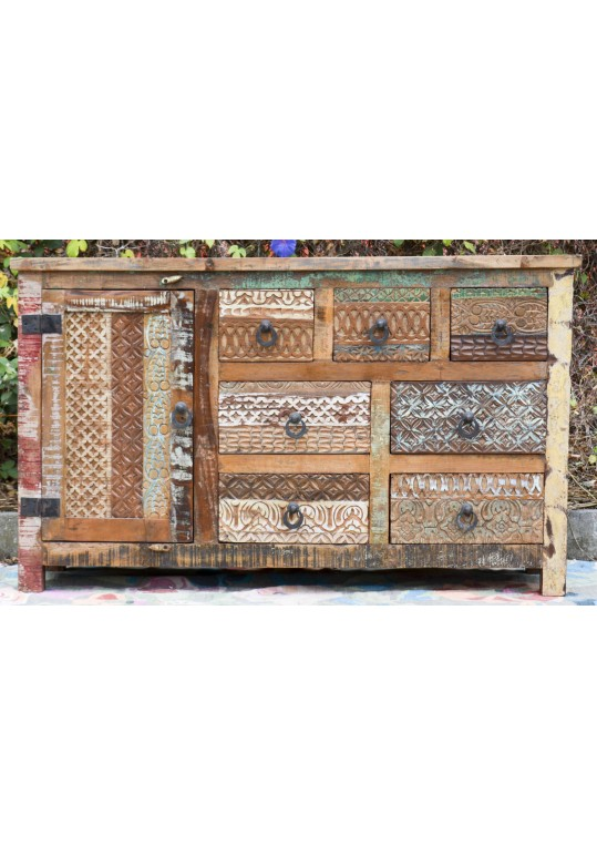 Reclaimed Timber Hand Carved Drawers Sideboard