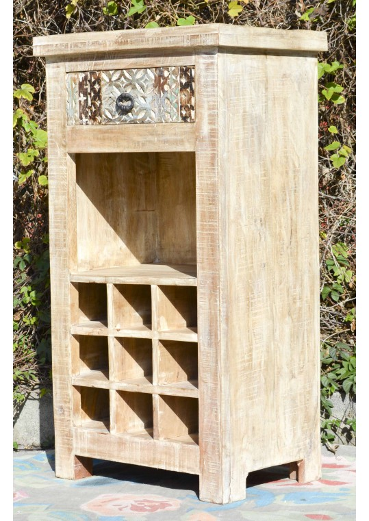 Hand Carved Shabby Chic Wine Storage Cabinet