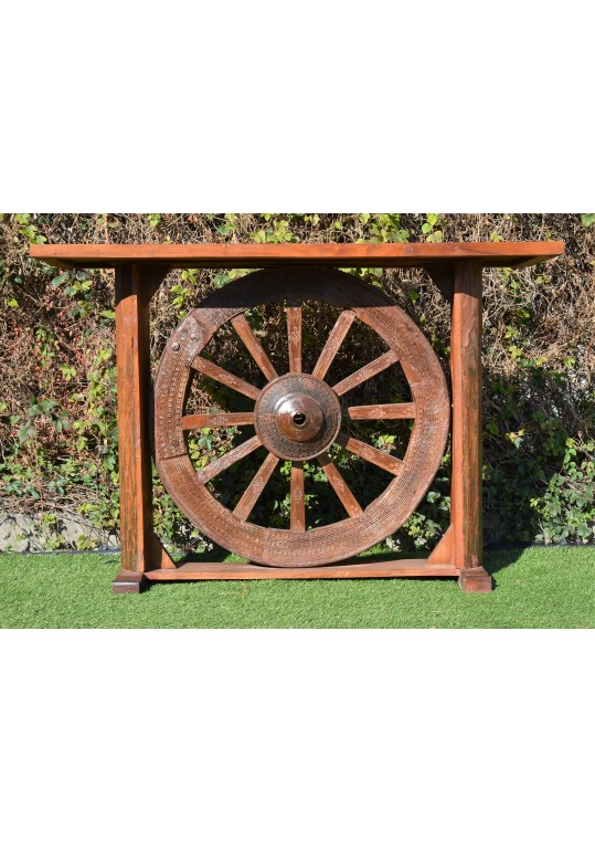 Reclaimed Timber Wagon Wheel Console Hall Table