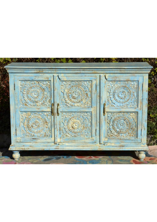 Blue Shabby Chic Carved Reclaimed Timber Sideboard