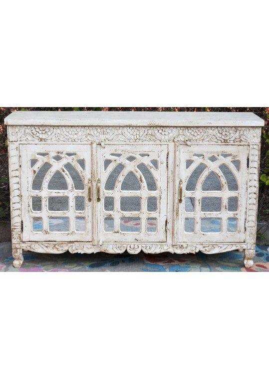 White Carved French Provincial Mirror Door Sideboard