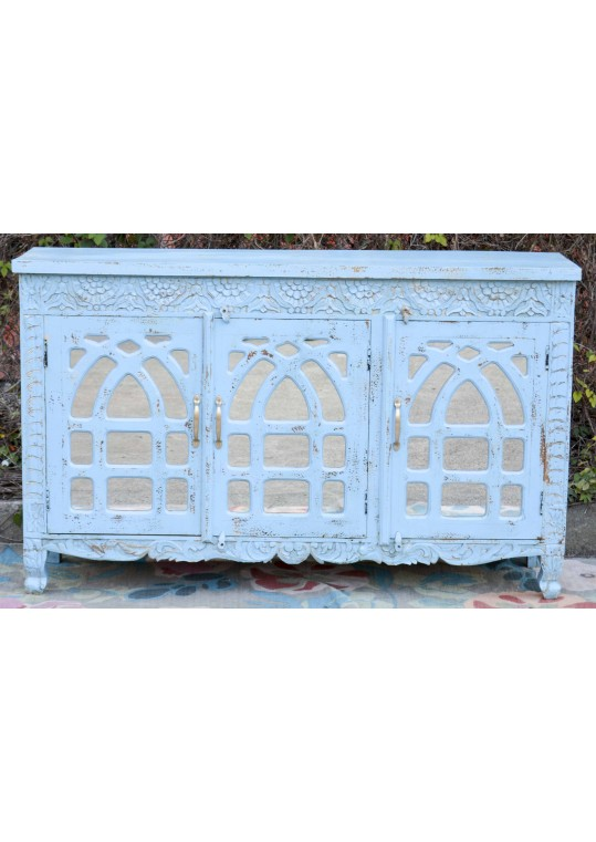 Blue Carved French Provincial Mirror Door Buffet Sideboard