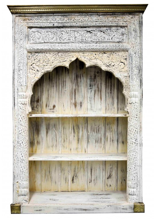 Antique White Mehrab Carved Indian Timber & Brass Bookshelf
