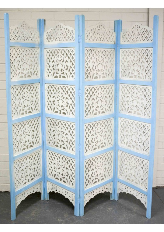 Indian Shabby Chic Hand Carved Timber Screen